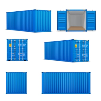 Realistic set of bright blue  cargo containers
