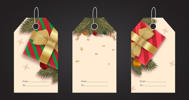 Realistic set of christmas tags