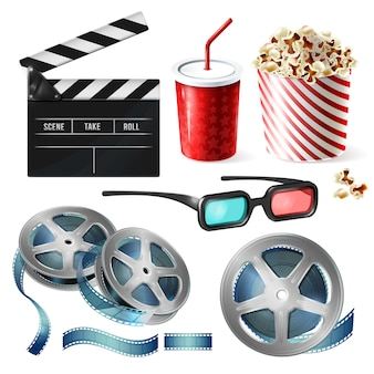 Realistic set of cinema equipment, cardboard bucket with popcorn, plastic cup for drinks