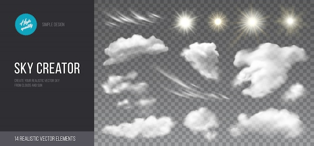 Realistic set of clouds and sun.