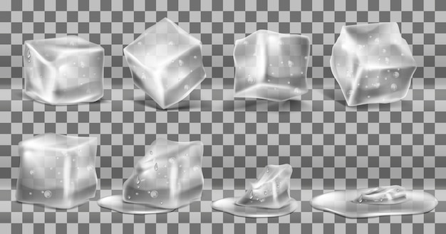 Realistic set of cold solid ice cubes, melting process of icy blocks with drops