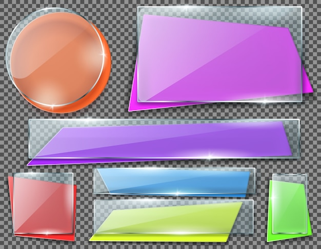 Realistic set of color banners under transparent glass plates, blank shining isolated frames.