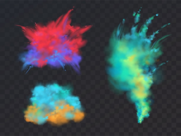Realistic set of colorful powder clouds or explosions, isolated on transparent background.