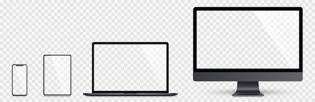 현실적인 설정된 컴퓨터, 노트북, 태블릿 및 스마트 폰. 장치 화면 수집. 현실적인 공간 회색 컴퓨터, 노트북, 태블릿, 그림자 재고와 전화를 조롱. 프리미엄 벡터