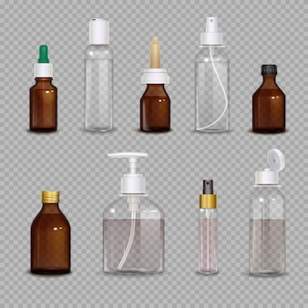 Realistic set of different bottles