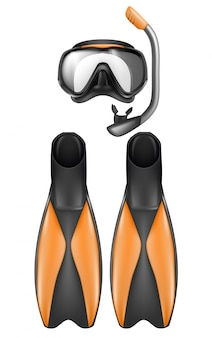 Realistic set of diver equipment, snorkeling mask with snorkel and flippers
