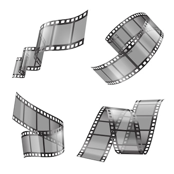 Realistic set of film strip, movie or photo tape, curved fragments