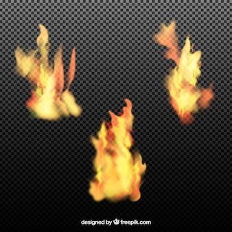 Insieme realistica di fiamme del fuoco