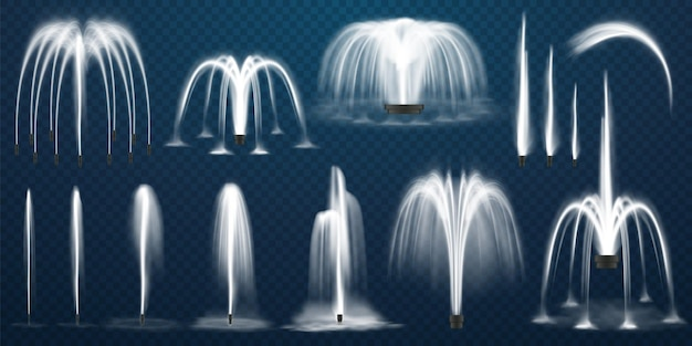 Realistic set of fountains water jets and white stream of d fountain on transparent