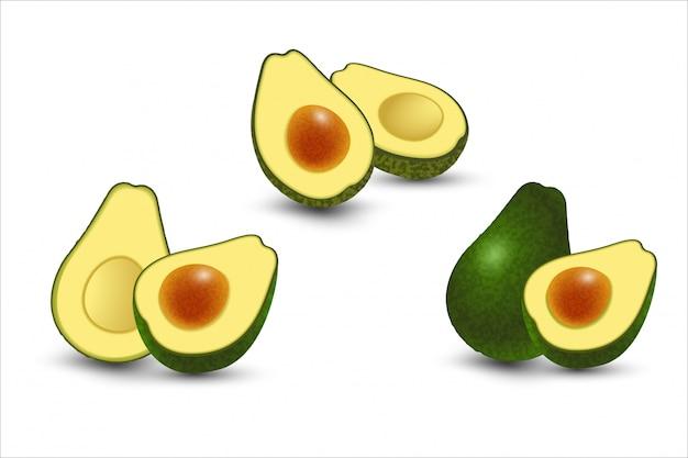 Realistic set of fresh cut avocado fruits