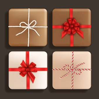 Realistic set of gift boxes different