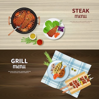 Realistic set of horizontal banners with bbq grilled kebab steak and vegetables