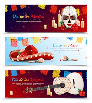 Realistic set of horizontal banners with various symbols of traditional mexican holidays isolated