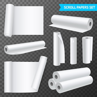 Realistic set of isolated clean white paper scrolls on transparent background illustration