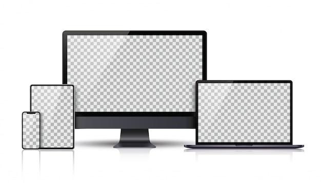Realistic set of monitor, laptop, tablet, smartphone dark grey color