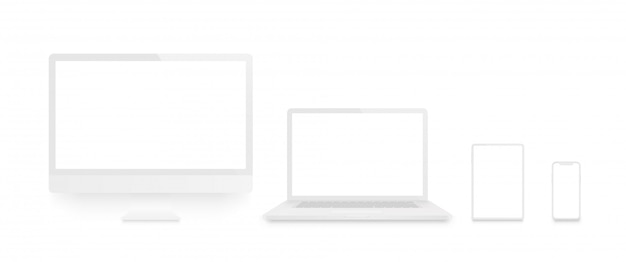 Realistic set of monitor, laptop, tablet, smartphone white color