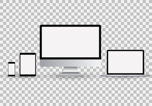 Realistic set of monitor, laptop, tablet, smartphone with blank white screen