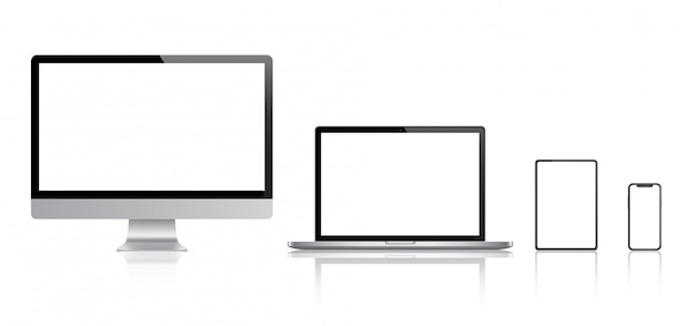 Realistic set of monitor, laptop, tablet, smartphone