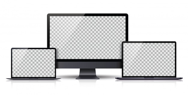 Realistic set of monitor, laptop, tablet