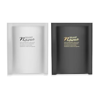 黒と白のパッケージの現実的なセット Premiumベクター