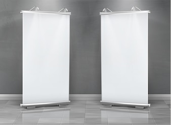 Realistic set of blank roll up banners, vertical stands for exhibition and business presentation