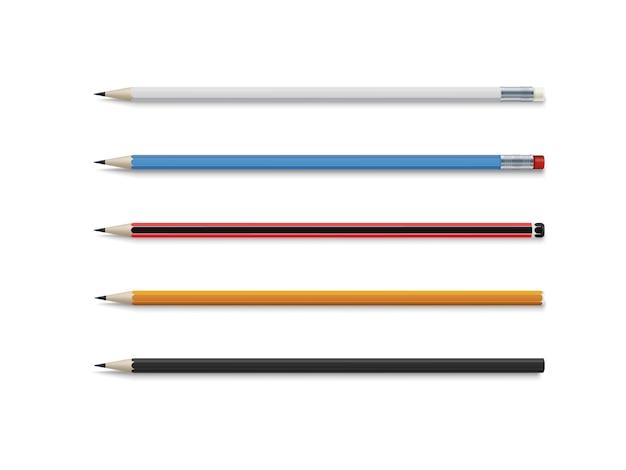 Реалистичный набор классических простых деревянных графитных карандашей.