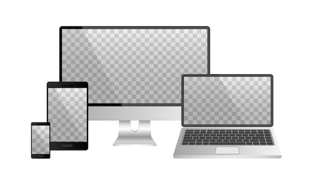 分離されたコンピューター、ラップトップ、スマートフォンのモックアップの現実的なセット。空白のデバイス画面テンプレート。