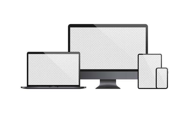 컴퓨터 모니터, 노트북, 태블릿, 스마트 폰의 현실적인 집합입니다. 투명 빈 디스플레이.