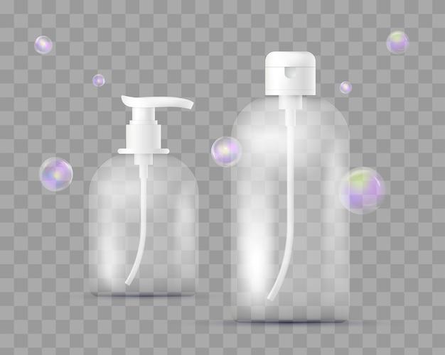 제약, 메이크업 투명 체크 무늬에 고립 된 다른 병의 현실적인 세트. 비누, 샴푸, 샤워 젤, 로션, 비누 거품이있는 바디 밀크 용 디스펜서 포함. 포장.