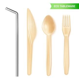 금속 짚 나무로되는 숟가락 칼과 고립 된 포크와 환경 친화적 인 일회용 식기의 현실적인 세트
