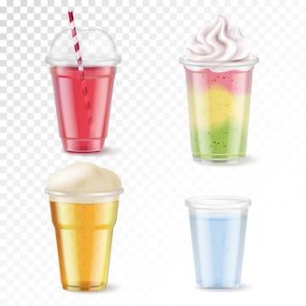 Реалистичный набор из четырех одноразовых пластиковых стаканов с различными напитками, изолированных на прозрачном фоне иллюстрации