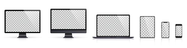 모니터, 노트북, 태블릿, 스마트 폰 어두운 회색 색상의 현실적인 세트
