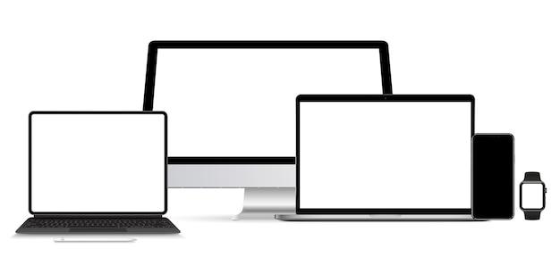Реалистичный набор монитора, ноутбука, планшета, смартфона - векторная картинка.