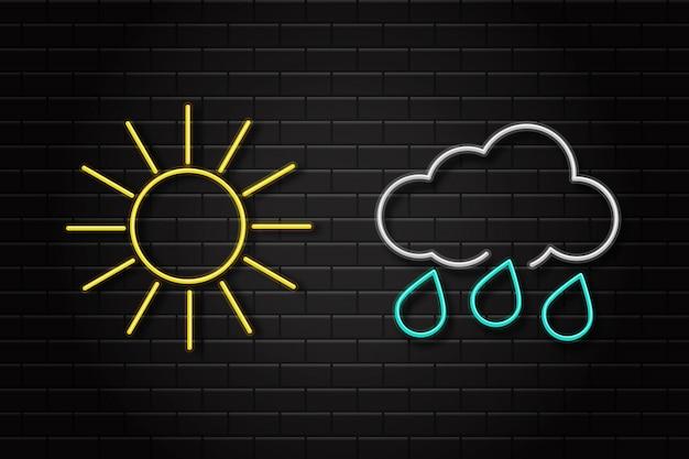 Реалистичный набор неоновых ретро знаков для значков погоды на фоне стены для украшения и покрытия. понятие окружающей среды и климата.