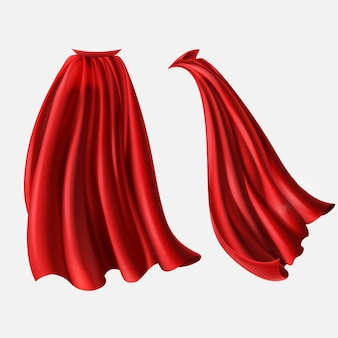 Realistic set of red cloaks, flowing silk fabrics isolated on white background.