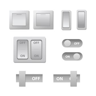 装飾用の現実的なトグルスイッチのオン/オフ。技術スライダーのコレクションはベクトルイラストです。