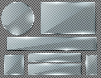 Realistic set of transparent glass plates, blank shining frames isolated on background.