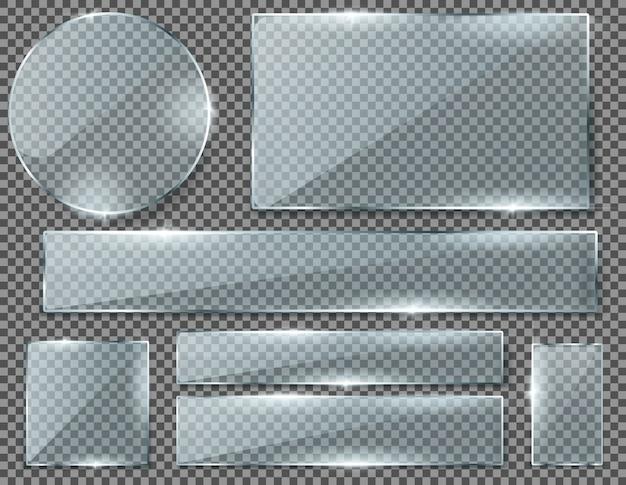 투명 유리 접시, 배경에 고립 된 빈 빛나는 프레임의 현실적인 집합입니다.