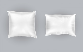 Realistic set of two white pillows, square and rectangular, soft and clean