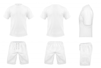 Realistic set of white t-shirts with short sleeves and shorts, sportswear, sport uniform