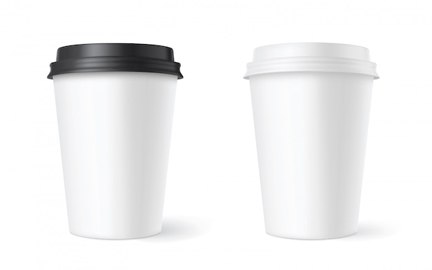 Realistic set paper coffee cups on white . 3d     .