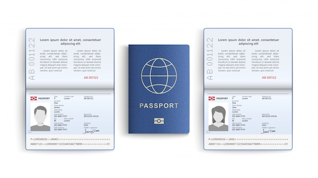 Realistic set of passport. identity card isolated