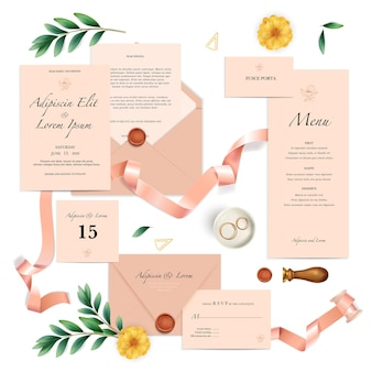 Realistic set of pink wedding invitation templates with text seal and rings isolated