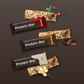 Realistic set of protein bars with berries, chocolate and vanilla taste: packed and open