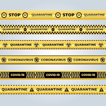 Realistic set of quarantine stripes