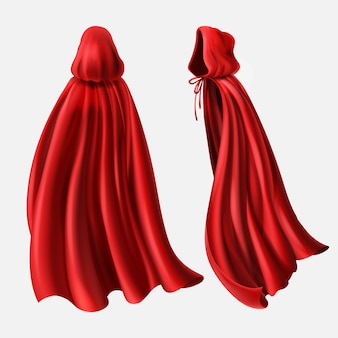 Realistic set of red cloaks with hood, flowing silk fabrics isolated on white.