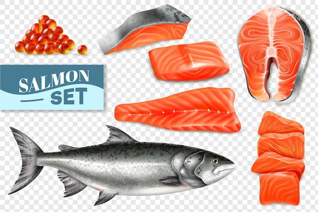 Realistic set of salmon fish steaks and caviar
