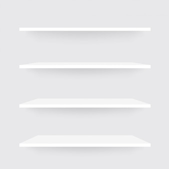 Реалистичный набор полок. белый шельф макет с тенью