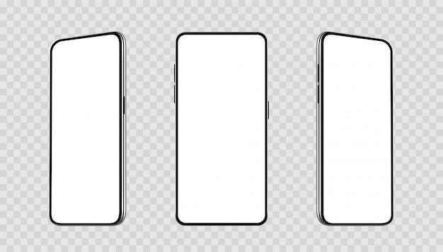 Realistic set smartphones at different angles