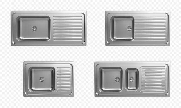 Set realistico di lavelli da cucina in acciaio inox vista dall'alto